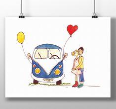 "Bullikarte ""Love Bus""  VW Bulli Liebe Hippie Bus VW Combi favor card for 60's Valentinskarte Vintage Vw Camper, Hippie Man, Vw Vintage, Roadtrip, Illustration, Scandinavian, Balloons, Valentines, Camping"