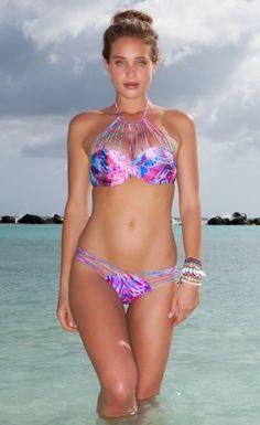 Sexy Triangle Brazilian Print Push up Bikini