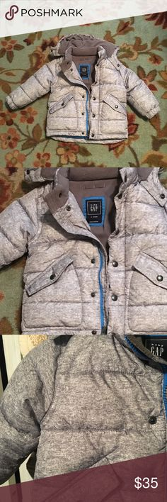 GAP toddler boys Puffer Hoodie Almost new toddler boys Puffer coat, insulated and waterproof. Worn maybe twice, he preferred his army print coat. Seen picture for full description! GAP Jackets & Coats Puffers