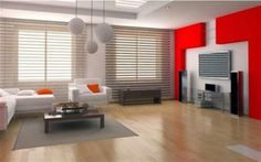 modern minimalist living room with beautiful feel of red and white