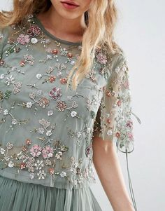 Needle and Thread Floral Embellished Top Designer Party Wear Dresses, Indian Designer Outfits, Embroidery Fashion, Embroidery Dress, Stylish Dresses For Girls, Nice Dresses, Simple Gown Design, Needle And Thread Dresses, Frock For Women