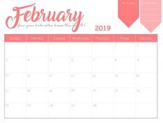 60 Best February 2019 Calendar Printable Templates Images