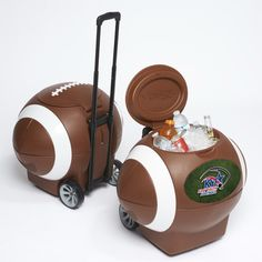 This patented football cooler design is perfect for any occasion -including tailgating, corporate promotions, parties, and outdoor activities.  The outer body is designed like a football - brown body, soft white laces on lid, circumferential stripes, logo plate for customization with a 82- 12 oz can capacity (55 quarts).  Each cooler has a drain plug, recessed handles area for easy lifting, telescopic handle and rubber over molded wheels for optimal durability.