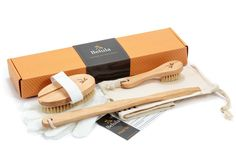 Premium Dry Brushing Body Brush Set- Natural Boar Bristle Body Brush , Exfoliating Face Brush and One Pair Bath and Shower Gloves. Free Bag and How To – Great Gift For A Glowing Skin and Healthy Body ** To view further for this item, visit the image link.