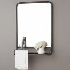 Metal Mirror with Shelf - Small