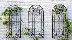Metal Iron Scroll Trellis set of 3 with Wall Mounting Brackets trellis garden trellis yard art wall Metal Garden Trellis, Iron Trellis, Wall Trellis, Patio Trellis, Patio Wall Decor, Outdoor Wall Art, Outdoor Walls, Outdoor Living, Wall Climbing Plants