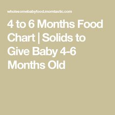 4 to 6 Months Food Chart | Solids to Give Baby 4-6 Months Old
