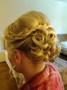 bridesmaid hair. volume, braids and curls
