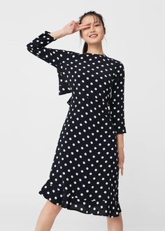 Polka-dot dress -  Women   MANGO USA