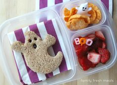 Fun Halloween Lunch Box Ideas - Ghost Lunch - FamilyFreshMeals.com