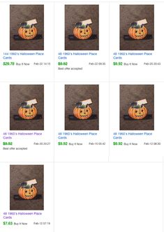 """432 (9 packs of 48)  1960s Hallmark 4x6"""" large place cards black cat & pumpkin (~$10 each pack plus shipping) 2017 #vintage #Halloween #collectibles #Hallmark"""