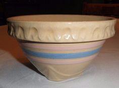 "1920 Small 3"" McCoy Pink & Blue Striped USA Yellowware Crock Pottery Mixing Bowl"