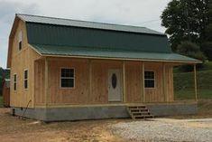 Gambrel Cabins Cabin Kits, Cabin Ideas, Cottage House Plans, Cottage Homes, Gambrel Barn, Wooden Buildings, Barndominium, Farmhouse Ideas, Cabins