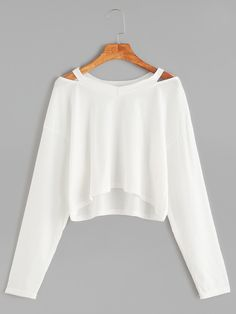 Shop White Cut Out Neck Crop T-shirt online. SheIn offers White Cut Out Neck Crop T-shirt & more to fit your fashionable needs.
