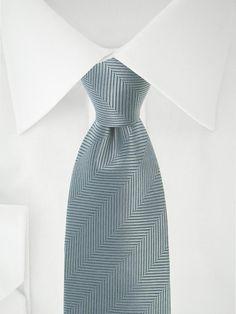 Graue Krawatte mit Fischgrätenmuster