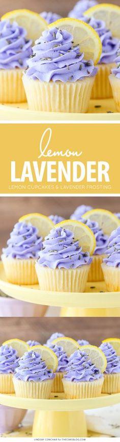 Lemon Lavender Cupcakes - easy lemon cupcakes with a light lavender frosting