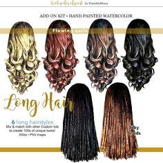 Long hair clipart hand painted hairstyles custom portrait | Etsy Long Curls, Long Braids, Bride Kit, Hair Clipart, Fashion Clipart, Curled Hairstyles, Human Hair Wigs, My Images, Clip Art