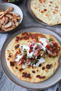 Spicy Marinated Pork Chops With Naan And Tomato Salsa – Spicy Marinated Pork Chops Served With Home made Naan, Tomato Salsa And Creme Fraiche Tastes Nice! I Love Food, Good Food, Yummy Food, Naan, Marinated Pork Chops, Food Crush, I Foods, Indian Food Recipes, Food Inspiration