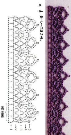(963) Pinterest - Пин: Ольга Запольская на досках вязание | бриошь | Постила Crochet Border Patterns, Crochet Lace Edging, Crochet Diagram, Crochet Chart, Diy Crochet, Knitting Patterns, Crochet Braid, Crochet Edgings, Beginner Crochet