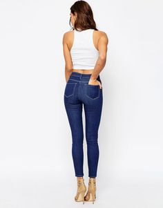 Image 2 ofASOS RIDLEY Skinny Jeans In Astral Blue With Contrast Threads