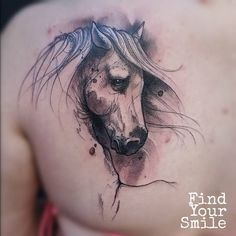 Horse Sketch Back Tattoo Neue Tattoos, Body Art Tattoos, Sleeve Tattoos, Pretty Tattoos, Beautiful Tattoos, Cool Tattoos, Tatoos, Watercolor Tattoo Artists, Aquarell Tattoos