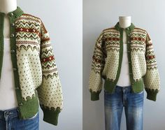Vintage Nordic Wool Fair Isle Cardigan / 1960s Hand Knit Sweater Cream Olive Green