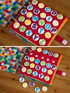 Alphabet sort 5 yo/ match yo Rainbow Quiet Book - Toddler Busy Book - Today I Felt Crafty Diy Quiet Books, Baby Quiet Book, Felt Quiet Books, Quiet Book Templates, Quiet Book Patterns, Felt Diy, Felt Crafts, Activities For Kids, Crafts For Kids