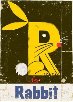 R is for Rabbit:  Léon aime / Papa aime : Paul Thurlby