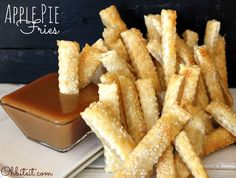 ~Apple Pie Fries! When it comes to desserts, it just doesn't get much better in life than a nice slice of good old, all-American Apple Pie! ☀CQ #pie #desserts #recipes