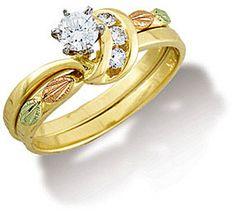 Q. Ladies Black Hills Gold Wedding Set with Engagement Ring