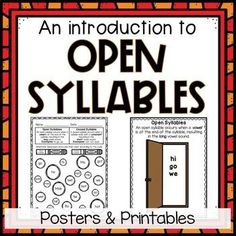 Introduce students to open syllables with these no-prep printables and posters. Students will learn that an open syllable occurs when a vowel is at the end of the syllable, resulting in the long vowel sound. Print and hang the open door poster to remind students that when the syllable is open, the v... Vowel Activities, Word Work Activities, Journal Writing Prompts, Creative Writing Prompts, First Grade Phonics, Printable Worksheets, Printables, Nonsense Words, Word Sorts