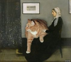 Whistler's Mother by James McNeill Whistler  Artist Inserts Her Fat Cat Into Famous Classical Paintings  Russian artist Svetlana Petrova photoshops her awesome cat named Zarathustra into iconic and famous works of art…