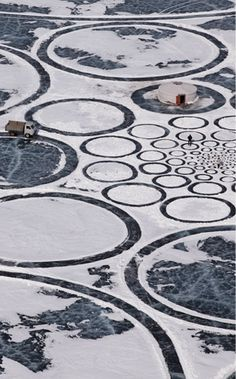 Making art on ice on Lake Baikal in Siberia, using the golden ratio to make a swirl of circles. How do you explain people who want to create these grand but extremely difficult things?