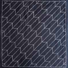 Japanese sashiko fabric - Yabane (Arrow) panel number 209 via Etsy