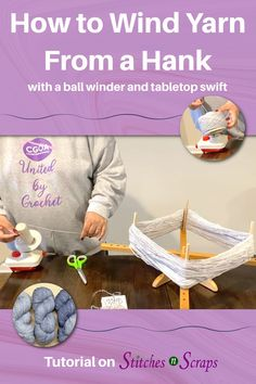 Learn how to turn a hank of yarn into a neat, center-pull cake, using a ball winder and a tabletop swift. #Tutorial #Ball #Winding #Yarn #Hank #Swift #BallWinder #YarnCake #StitchesnScraps Knitting Increase, Yarn Cake, Knitting Tutorials, Knit Or Crochet, Stitch Markers, Elk, Swift, Tabletop, Stitches
