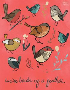 We're Birds of a Feather  Vertical Print by WhimsyJane on Etsy