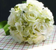 Chers artificiels, bouquet mariée mariage blanc soie, bouquets fleurs rose bouquet de fleurs de mariage livraison gratuite aa03