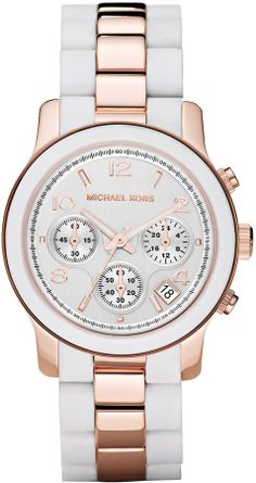 Michael Kors Two-Tone Silicone Watch, Rose Gold/White