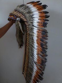 Gotta have it. Extra Large Indian Three color and Dark by THEWORLDOFFEATHERS, $185.00