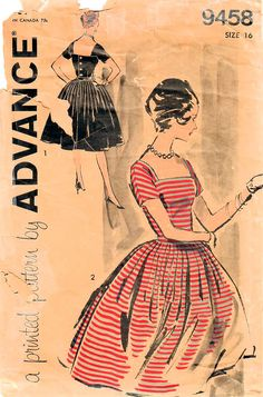 Excited about this gorgeous dress in my #etsy shop: 1960s Advance 9458 Vintage Sewing Pattern Misses One Piece Dress, Full Skirt Dress, Evening Dress, Formal Dress Size 16 Bust 36 http://etsy.me/2nSRshj #supplies #sewing #missesdresspattern #dresssewingpattern