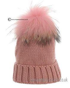 Satila Girls Fur Pom Hat 1709 Pink. Childrens winter  pull on pom pom hats by Satila. Kids ski hats by Satila. Warm knitted big bobble hats by Satila of Sweden.