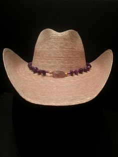Cowboy Hat w/ Natural Amethyst and Agate Hat Band - Straw Cowgirl Hat with Purple Amethyst and Pink Agate Stone Beads by BeliefStoneDesigns on Etsy