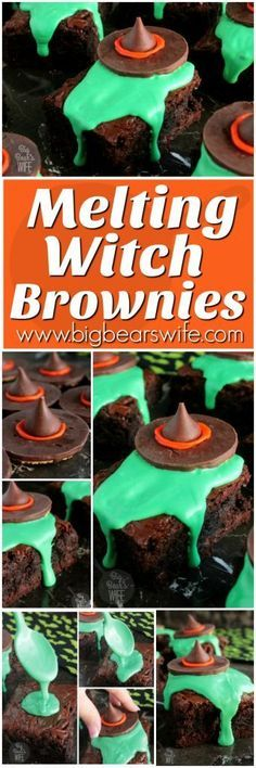 So cute! They were a hot at the Halloween party! Easy t make too! Melting Witch Brownies - Big Bear's Wife