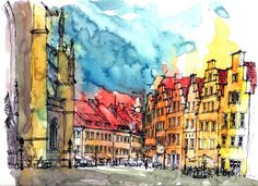 Osnabruk markt, watercolor and ink, architecture, sketch, by KANAI
