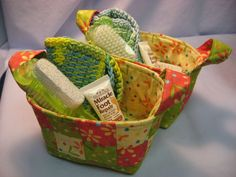 Tunisian crochet scrubbie in cute fabric baskets. Love this!