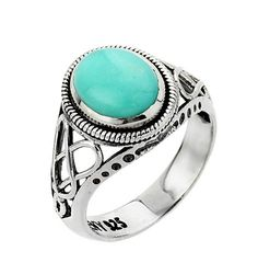 10k White Gold Trinity Knot Turquoise Ring