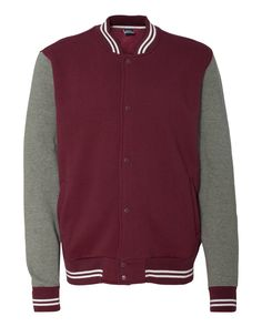 Maroon And Graphite Varsity Sweatshirt Jacket From MV Sport