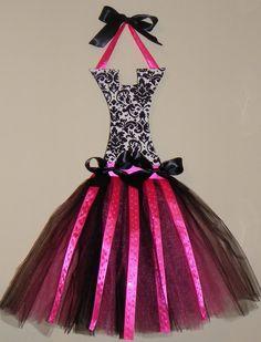 Damask Pink Rhinestone Tutu Hairbow Holder-