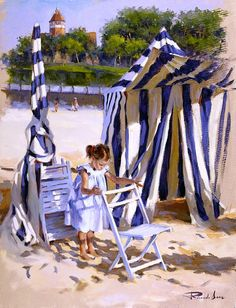 On the Beach by Ricardo Sanz - Donosti, Basque Country (Spain) Spanish Painters, Spanish Artists, 7 Arts, Illustrations, Beach Art, Art World, Love Art, Art For Kids, Art Children