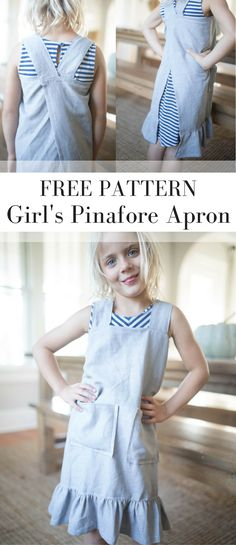 DIY Pinafore Apron for Girls with ruffles and linen. How to sew a pinafore apron.